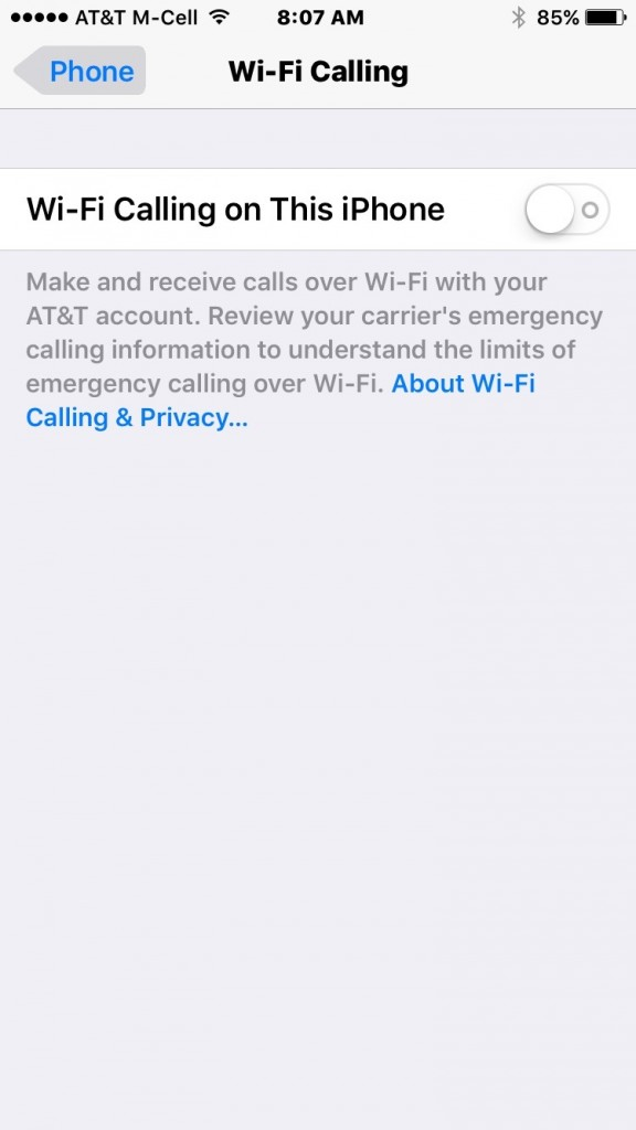 How to activate Wi-Fi Calling on iOS 9 for AT&T using iPhone 7