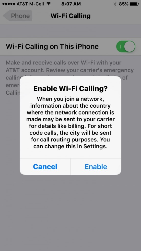 How to activate Wi-Fi Calling on iOS 9 for AT&T using iPhone 8s